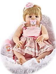 cheap -FeelWind Reborn Doll Baby Girl 22 inch Full Body Silicone - lifelike Hand Made Hand Rooted Mohair Artificial Implantation Blue Eyes Tipped and Sealed Nails Kid's Girls' Toy Gift