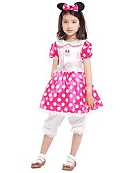 cheap -Princess Costume Flower Girl Dress Kids Girls' A-Line Slip Halloween Halloween Carnival Children's Day Festival / Holiday Polyster Pink Carnival Costumes Solid Colored Halloween / Pants / Headwear