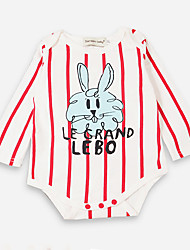 cheap -Baby Girls' Active / Basic Daily / Holiday Striped / Print Printing Long Sleeve Bodysuit Red / Toddler