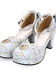 cheap -Women's Lolita Shoes Sandals Sweet Lolita Princess Lolita Chunky Heel Shoes Heart Bowknot 6.5 cm White Blue PU(Polyurethane) Halloween Costumes