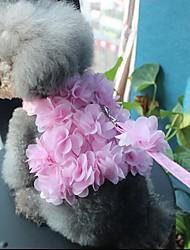 cheap -Dog Cat Pets Harness Leash Walking Cute and Cuddly Bowknot Flower / Floral Bowknot Flower Fabric Husky Alaskan Malamute Golden Retriever Dalmatian Corgi Beagle Pink