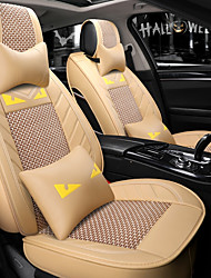 cheap -5 seats beige Cartoon car seat cover with two headrest and two waist cushions/PU leather and ice silk material/Airbag compatibility/Four Seasons Universal