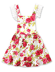 cheap -Baby Girls' Vintage / Active Daily / Holiday Floral / Print Print Sleeveless 50-60 cm Dress Red / Toddler