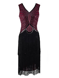 cheap -The Great Gatsby Charleston 1920s Roaring Twenties Flapper Dress Masquerade Cocktail Dress Women's Sequins Tassel Rivet Costume Black / Red / black Vintage Cosplay Party Prom Sleeveless Knee Length