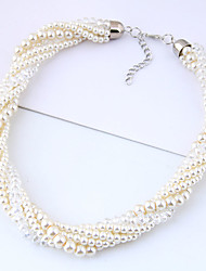 cheap -Women's Bead Necklace Braided Twisted Ladies European Fashion Imitation Pearl Alloy White 40 cm Necklace Jewelry 1pc For Party / Evening Daily