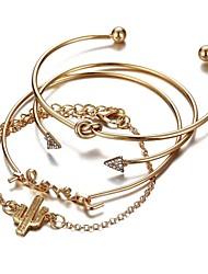 cheap -4pcs Women's Bracelet Classic Retro Alphabet Shape Cactus Arrow Ladies Fashion Cute Alloy Bracelet Jewelry Gold For Daily School