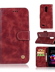 cheap -Case For LG LG X Style / LG X Power / LG V30 Wallet / Card Holder / with Stand Full Body Cases Solid Colored Hard PU Leather / LG G6