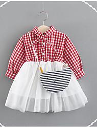 cheap -Baby Girls' Basic Plaid Long Sleeve Regular Dress Black / Toddler