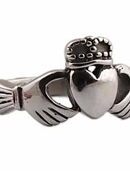 Недорогие -Для пары Кольца для пары 1шт Серый Титановая сталь Круглый Геометрической формы Дамы Винтаж европейский Свадьба Подарок Бижутерия Старинный Стильные Сердце Любовь Сердце Cool