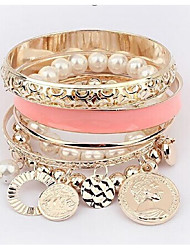 cheap -Women's Freshwater Pearl Bead Bracelet Bracelet Hollow Out Stacking Stackable Creative Ladies European Alloy Bracelet Jewelry White / Black / Pink For Wedding Work