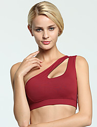 cheap -Women's Sports Bra Top Bra Top One Shoulder Cotton Zumba Running Dance Breathable 3D Pad Anatomic Design Black White Purple Burgundy Blue Pink Solid Colored / Stretchy