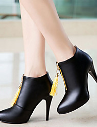 cheap -Women's Boots Novelty Shoes Stiletto Heel Pointed Toe Tassel PU(Polyurethane) Booties / Ankle Boots Fashion Boots / Bootie Fall & Winter Black / Yellow / Red / Party & Evening