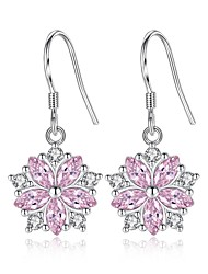 cheap -Women's Cubic Zirconia Drop Earrings Stylish Hollow Out Flower Ladies Basic Fashion bridesmaid Earrings Jewelry Silver For Daily Ceremony 1 Pair