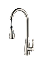 cheap -Kitchen faucet - Single Handle One Hole Nickel Brushed Pull-out / ­Pull-down Vessel Contemporary Kitchen Taps / Brass