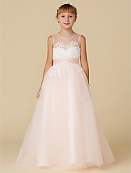 cheap -Princess Floor Length Wedding / Birthday / Pageant Flower Girl Dresses - Lace / Tulle Sleeveless Jewel Neck with Sash / Ribbon / Appliques