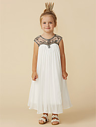 cheap -A-Line Tea Length Holiday Flower Girl Dresses - Chiffon Short Sleeve Jewel Neck with Beading