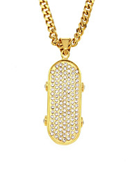 cheap -Men's Cubic Zirconia Pendant Necklace Chain Necklace Cuban Link Precious Skateboard Statement European Hip-Hop Hip Hop Rhinestone Steel Stainless Gold 70 cm Necklace Jewelry 1pc For Masquerade Street