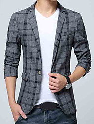 cheap -Men's Daily / Work Regular Blazer, Striped Shirt Collar Long Sleeve Polyester Blue / Red / Gray