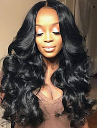 cheap -Virgin Human Hair Lace Front Wig Deep Parting Rihanna style Brazilian Hair Curly Black Wig 180% Density with Baby Hair Elastic Women Women's Long Human Hair Lace Wig Premierwigs