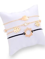 cheap -4pcs Women's Cubic Zirconia Bracelet Stylish Leaf Sun Ladies Trendy Sweet Fashion Alloy Bracelet Jewelry Gold / Silver For Daily Birthday