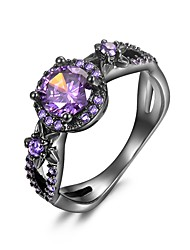cheap -Women Statement Ring Cubic Zirconia Hollow Purple Copper Gold Plated Ladies Unique Design Aristocrat Lolita 1pc 6 7 8 9 / Women's / Synthetic Opal / Promise Ring / Amethyst