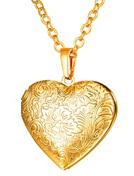 cheap -Women's Pendant Necklace Long Locket Heart Ladies Romantic Gothic Copper Gold Silver Rose Gold 55 cm Necklace Jewelry 1pc For Gift Daily
