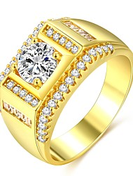 cheap -Men's Ring Promise Ring 1pc Gold 18K Gold Plated Brass Imitation Diamond Classic Fashion Hip-Hop Wedding Engagement Jewelry Classic Stylish Solitaire Precious Cool