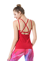 cheap -Women's Crew Neck Open Back Strappy Strap Tank Solid Color Zumba Running Dance Tank Top Sleeveless Activewear Breathable Quick Dry Compression Sweat-wicking Micro-elastic