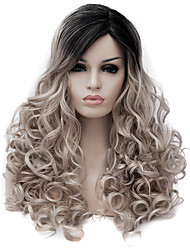 cheap -Synthetic Wig Curly Asymmetrical Wig Very Long Flaxen Synthetic Hair 26inch Women's Cute Party Gray