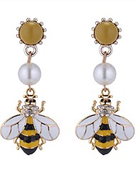 cheap -Women's Drop Earrings Long Bee Ladies Vintage Ethnic Fashion Imitation Pearl Rhinestone Earrings Jewelry Yellow For Party Going out 1 Pair