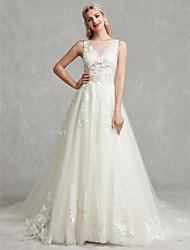 cheap -A-Line Wedding Dresses Bateau Neck Chapel Train Lace Tulle Regular Straps Beautiful Back with Lace Appliques 2021