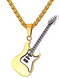 Недорогие -Муж. Ожерелья с подвесками Веревка франко сеть Музыка Гитара Мода Нержавеющая сталь Золотой 55 cm Ожерелье Бижутерия 1шт Назначение Подарок Повседневные