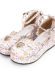 cheap -Women's Lolita Shoes Princess Lolita Wedge Heel Shoes Pattern 5 cm White Blue PU(Polyurethane) Halloween Costumes