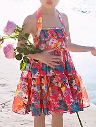 cheap -Toddler Girls' Basic Sweet Floral Sleeveless Dress Red