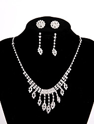 cheap -Women's Chain Necklace Necklace Earrings Set Hollow Out Beads Creative Heart Basic Trendy Sweet Earrings Jewelry Silver For Wedding Party
