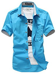 cheap -Men's Daily Basic Shirt - Solid Colored Navy Blue / Short Sleeve