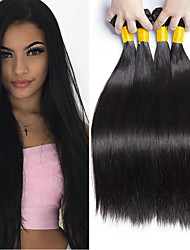 cheap -4 Bundles Brazilian Hair Straight Human Hair Natural Color Hair Weaves / Hair Bulk Bundle Hair One Pack Solution 8-28 inch Natural Natural Color Human Hair Weaves Safety Classic Best Quality Human