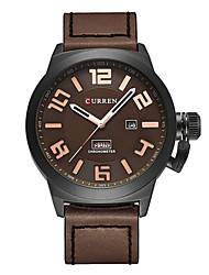 cheap -CURREN Men's Dress Watch Japanese Quartz Genuine Leather Black / Blue / Brown 30 m Water Resistant / Waterproof Calendar / date / day Chronograph Analog Classic Casual Fashion - Black / Brown Brown