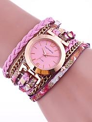 Недорогие -Жен. Часы-браслет На каждый день Мода Розовый Фиолетовый Искусственная кожа Китайский Кварцевый Лиловый Розовый Повседневные часы 1 ед. Аналоговый Один год Срок службы батареи