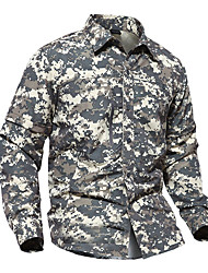 cheap -Men's Camo Hiking Shirt / Button Down Shirts Long Sleeve Outdoor Fast Dry Quick Dry Breathability Wearable Convert to Short Sleeves Shirt Top Autumn / Fall Spring Cotton Nylon Army Green Grey Khaki