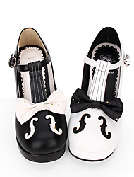 cheap -Women's Lolita Shoes Punk Fashion Princess Lolita Gothic Cone Heel Shoes Lines / Waves Stitching Lace 6.5 cm Black White PU Leather Halloween Costumes / Steampunk