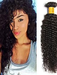 cheap -4 Bundles Indian Hair Kinky Curly Human Hair Headpiece Natural Color Hair Weaves / Hair Bulk Extension 8-28 inch Natural Color Human Hair Weaves Newborn Cosplay Soft Human Hair Extensions / 8A