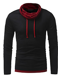 cheap -Men's Solid Colored T-shirt Daily Round Neck Black / Blue / Red / Gray / Long Sleeve