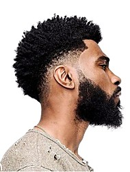 cheap -PANSY African Curly Thin Skin Toupee For Black Men Afro Curl Short Wig Toupee Hairpiece Natural Color 8x10 inch