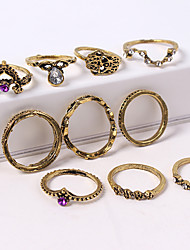 cheap -Women's Ring Set Midi Rings Stackable Rings 10pcs Gold Silver Rhinestone Alloy Ladies Unusual Unique Design Causal Jewelry Retro Crown