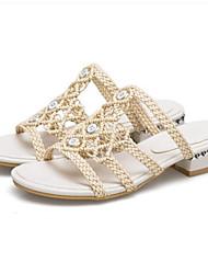 cheap -Women's Sandals Low Heel Microfiber Comfort Summer Beige / Almond