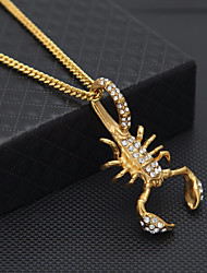 cheap -Men's Cubic Zirconia Pendant Necklace Chain Necklace Cuban Link Scorpion Statement European Hip-Hop Hip Hop Rhinestone Steel Stainless Gold 60 cm Necklace Jewelry 1pc For Street Bar