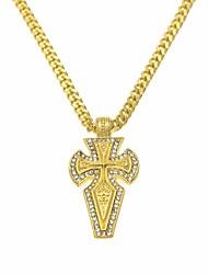 cheap -Men's Cubic Zirconia Pendant Necklace Chain Necklace Stylish Cuban Link Cross Faith Artistic European Hip-Hop Rhinestone Chrome Gold 70 cm Necklace Jewelry 1pc For Street Club