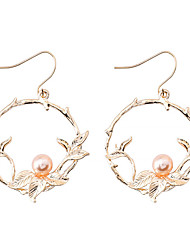 cheap -Women's Drop Earrings Stylish Leaf Circle Ladies Simple Korean Fashion Imitation Pearl Earrings Jewelry Gold For Causal Daily 1 Pair