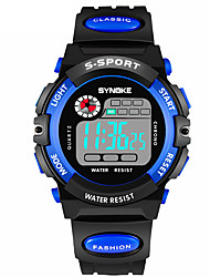 cheap -SYNOKE Men's Sport Watch Digital Watch Digital Quilted PU Leather Black 30 m Water Resistant / Waterproof Calendar / date / day Chronograph Digital Fashion - Yellow Red Blue / Dual Time Zones